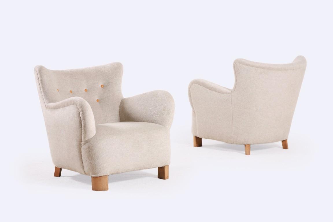 paire de fauteuils danois 1940s jasper. Black Bedroom Furniture Sets. Home Design Ideas