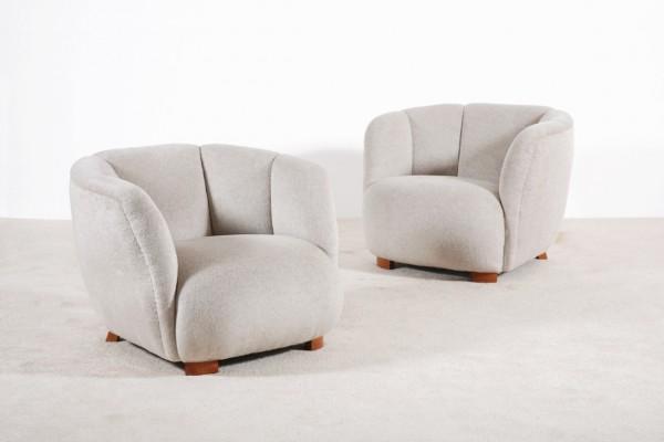 fauteuil danois scandinave vintage laine 1940 1950