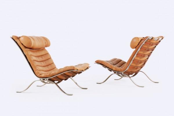 arne norell fauteuil ari suede mobler ab cuir fauve 1960